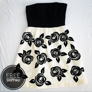 WHBM Strapless Black Rose Cocktail Dress